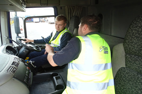 A delegate taking part in driver CPC training